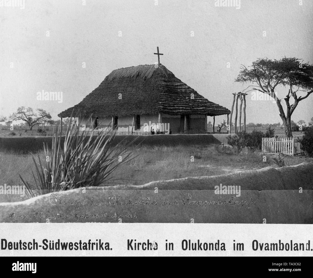 The first Protestant church built in 1889 in German South West Africa. It was built in Olukonda in Ovamboland. - Stock Image
