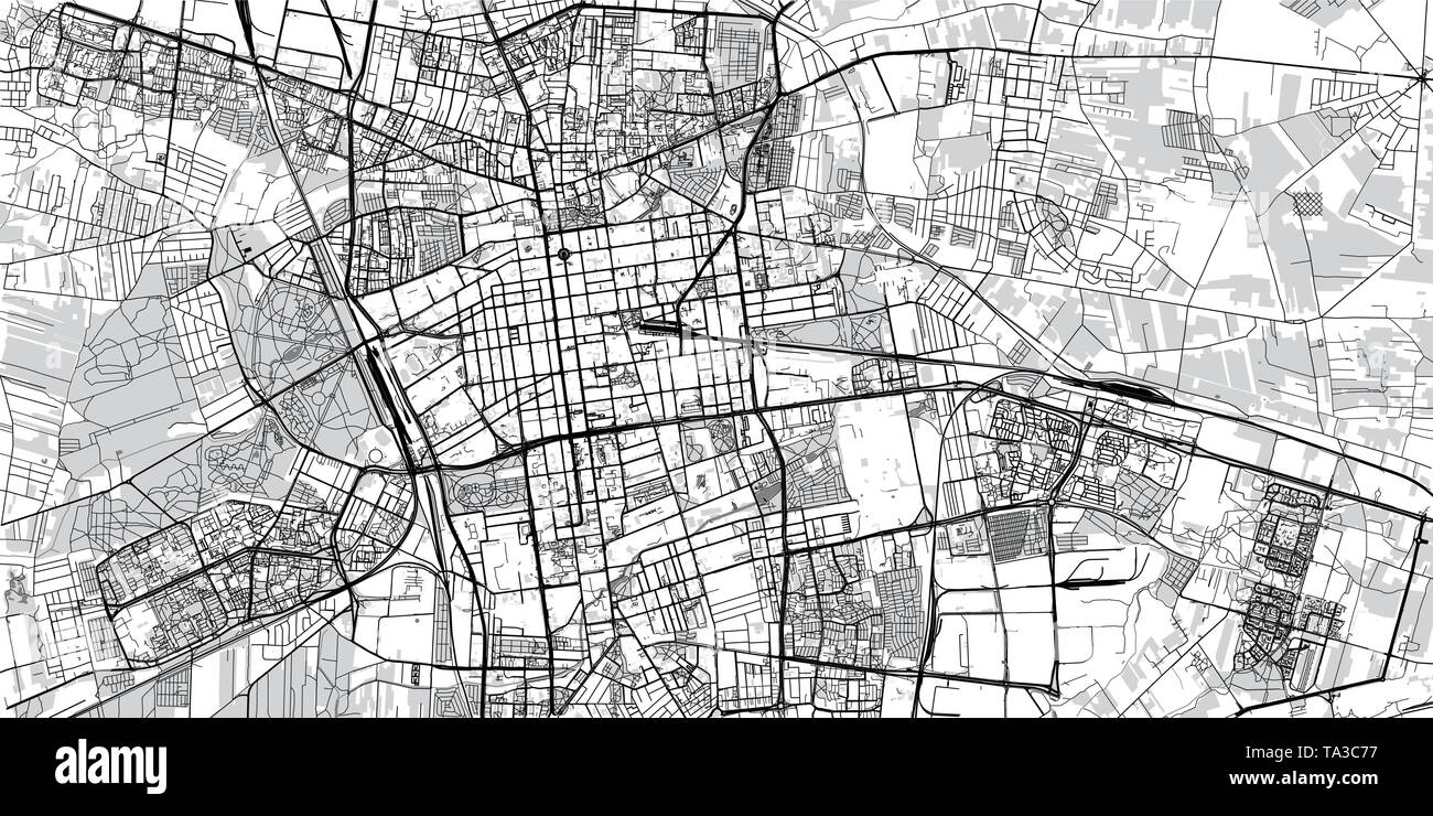 Urban vector city map of Lodz, Poland - Stock Image