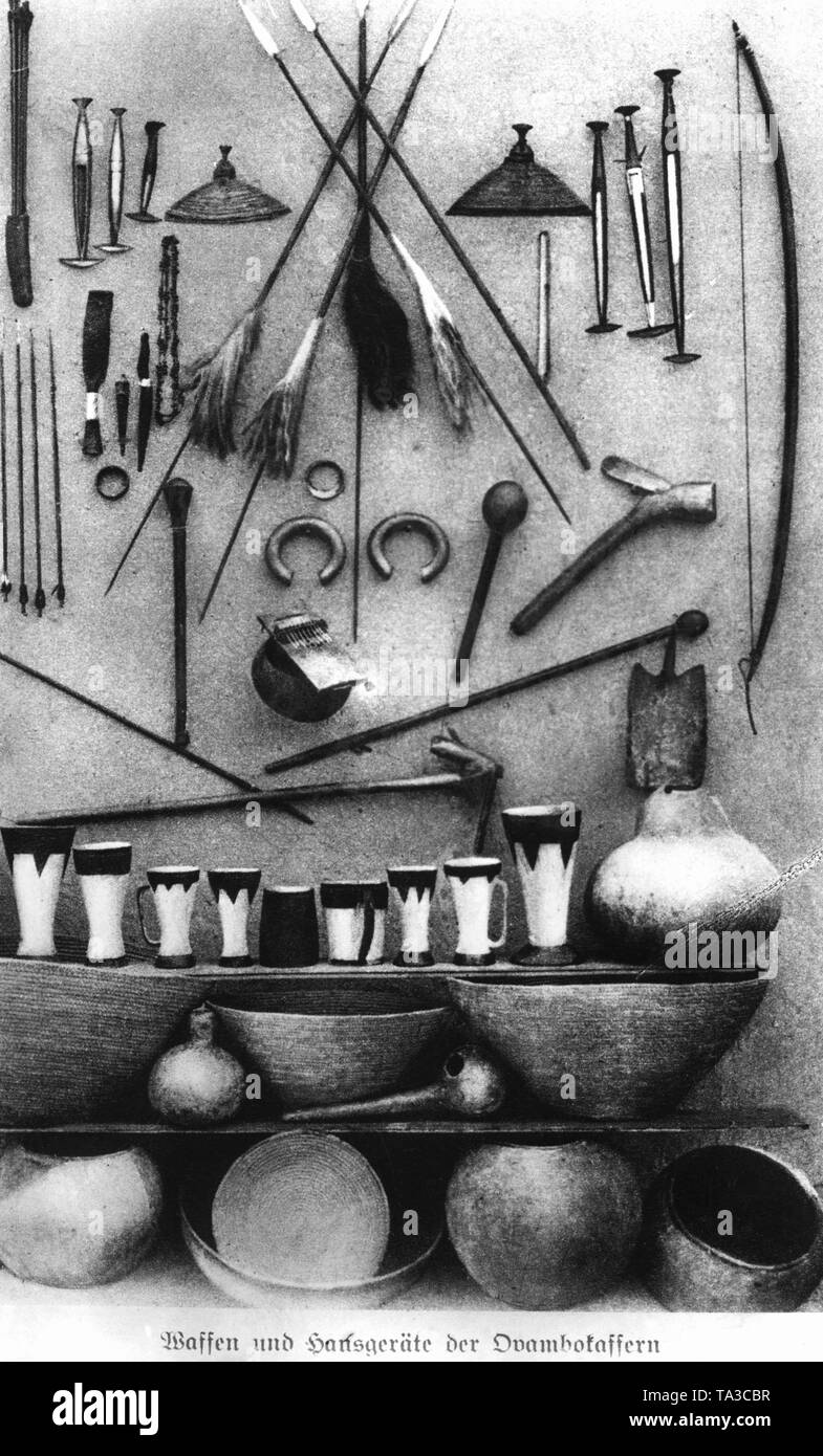Weapons, bowls, jars and other household utensils of the Ovambo Kaffirs (undated shot). Stock Photo