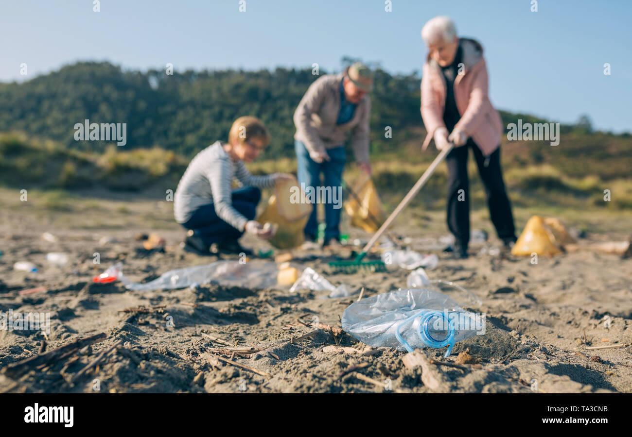 Senior volunteers cleaning the beach - Stock Image
