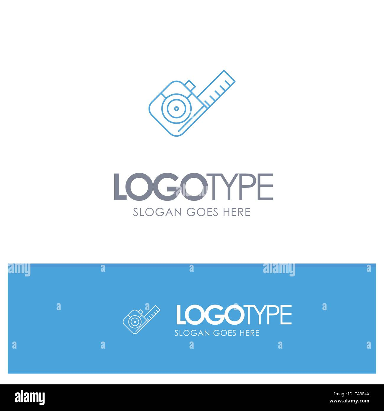 Measure, Measuring, Tape, Tool Blue outLine Logo with place for tagline - Stock Image