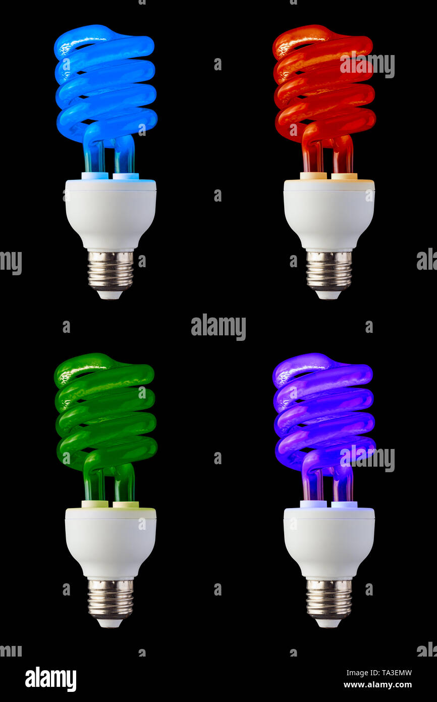 Neon Light Bulbs >> Set Of Colored Cfl Neon Light Bulbs Isolated On Black