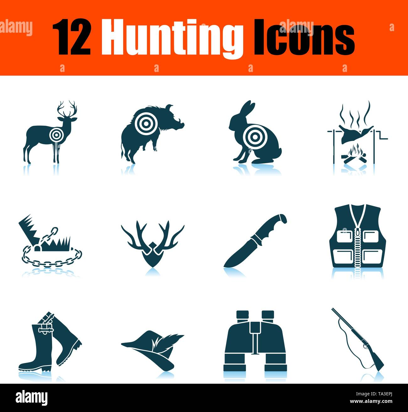 Hunting Icon Set  Shadow Reflection Design  Vector