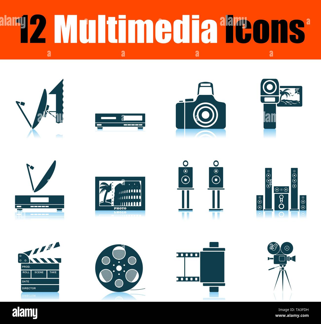 Multimedia Icon Set. Shadow Reflection Design. Vector Illustration. - Stock Image