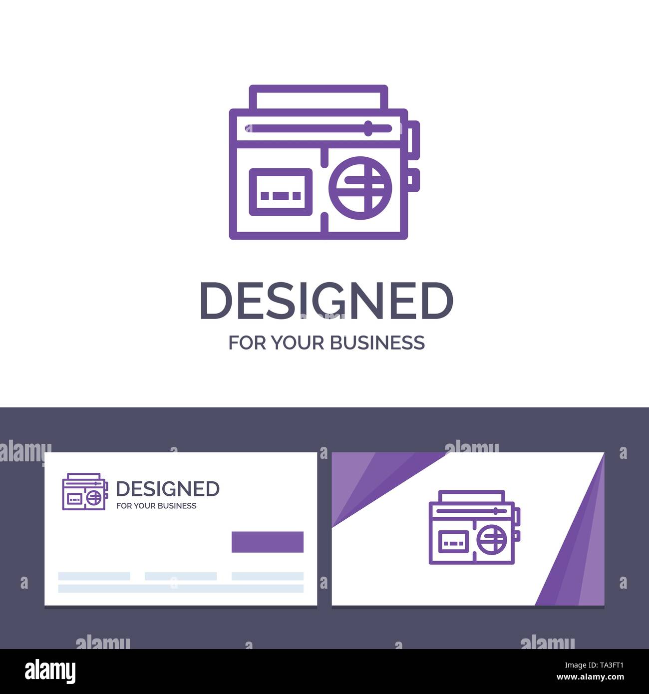 Creative Business Card and Logo template Tape, Radio, Music, Media Vector Illustration - Stock Image