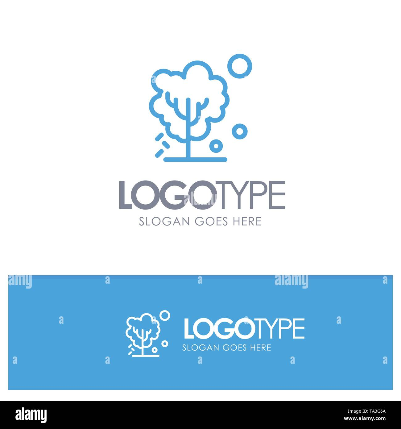 Dry, Global, Soil, Tree, Warming Blue outLine Logo with place for tagline - Stock Image