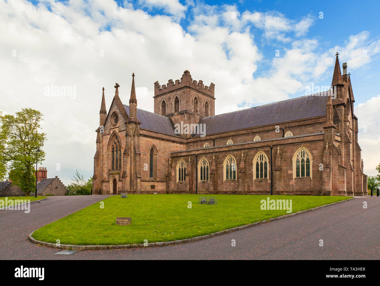 The north side of St Patrick's Cathedral in the city of Armagh, County Armagh, Ulster, Northern Ireland is the seat of the Archbishop of Armagh in the Stock Photo