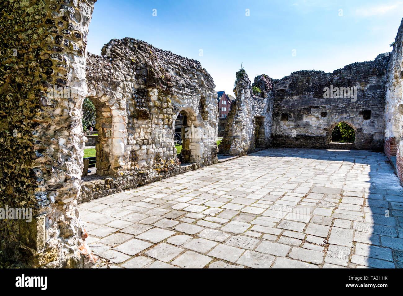Blackfriars Dominican Priory Ruin next to the River Arun, Arundel, UK - Stock Image