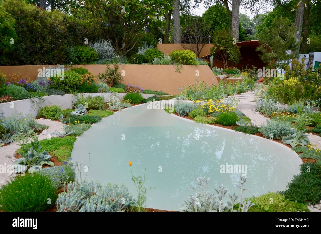 The Dubai Majlis Garden at the 2019 rhs chelsea flower show in london england - Stock Image