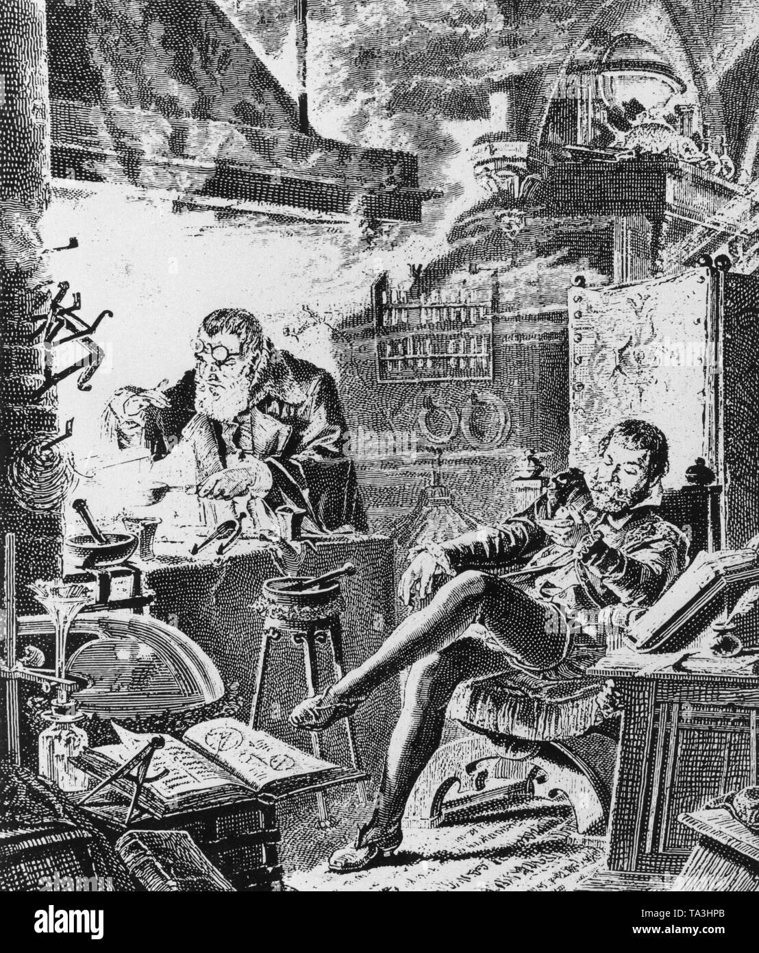 Alchemist Leonard Thurneysser in his laboratory. On the chair his patron, Elector Johann Georg von Brandenburg - Stock Image