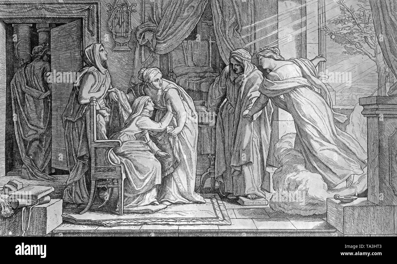 The painting of Alfred Rethel illustrates a hospital room with a recovering patient (3rd from left). The bearer of fever (left) leaves the room, and health returns to the room (right). Next to the patient stand the figures pietas, cura and medicina (from left). - Stock Image