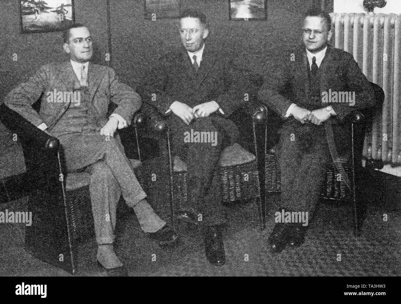 The first board of the Deutsche Lufthansa after its establishment (from left: Martin Wronski, Otto Julius Merkel and Erhard Milch) at the Hotel Kaiserhof in Berlin.  Lufthansa was created after the merger of Deutsche Aero Lloyd and Junkers Luftverkehr AG. - Stock Image