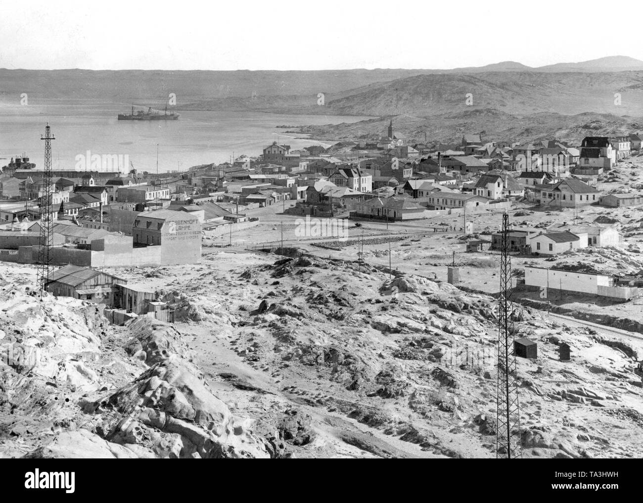 The coastal town of Luederitz Bay, shortly after the first settlers settled in German South West Africa. - Stock Image