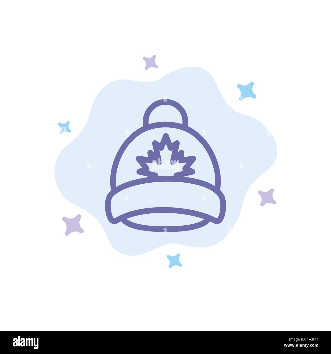 Hat, Cap, Leaf, Canada Blue Icon on Abstract Cloud Background - Stock Image