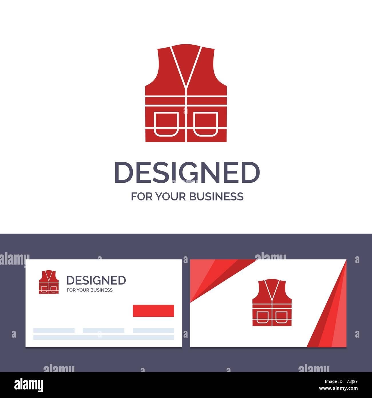 Creative Business Card and Logo template Vest, Jacket, Labour, Construction, Repair Vector Illustration - Stock Image