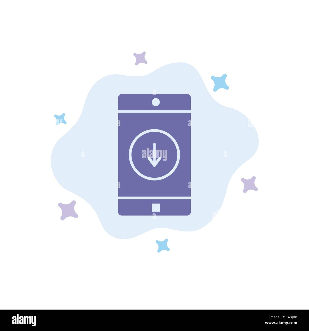 Application, Mobile, Mobile Application, Down, Arrow Blue Icon on Abstract Cloud Background - Stock Image