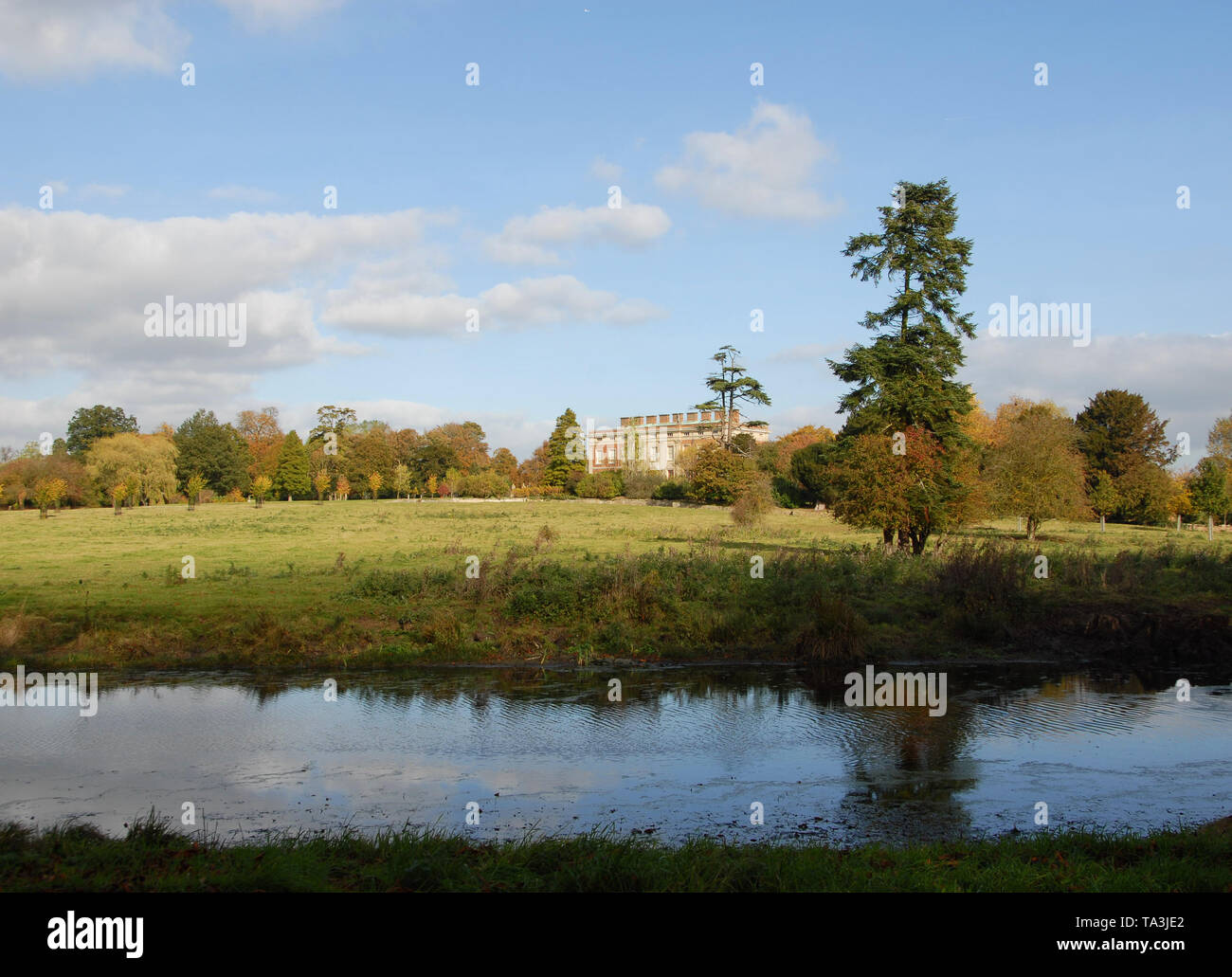 A 'New Canal' bringing water near Wotton House  is a feature in one of the great landscapes designed by Capability Brown - Stock Image