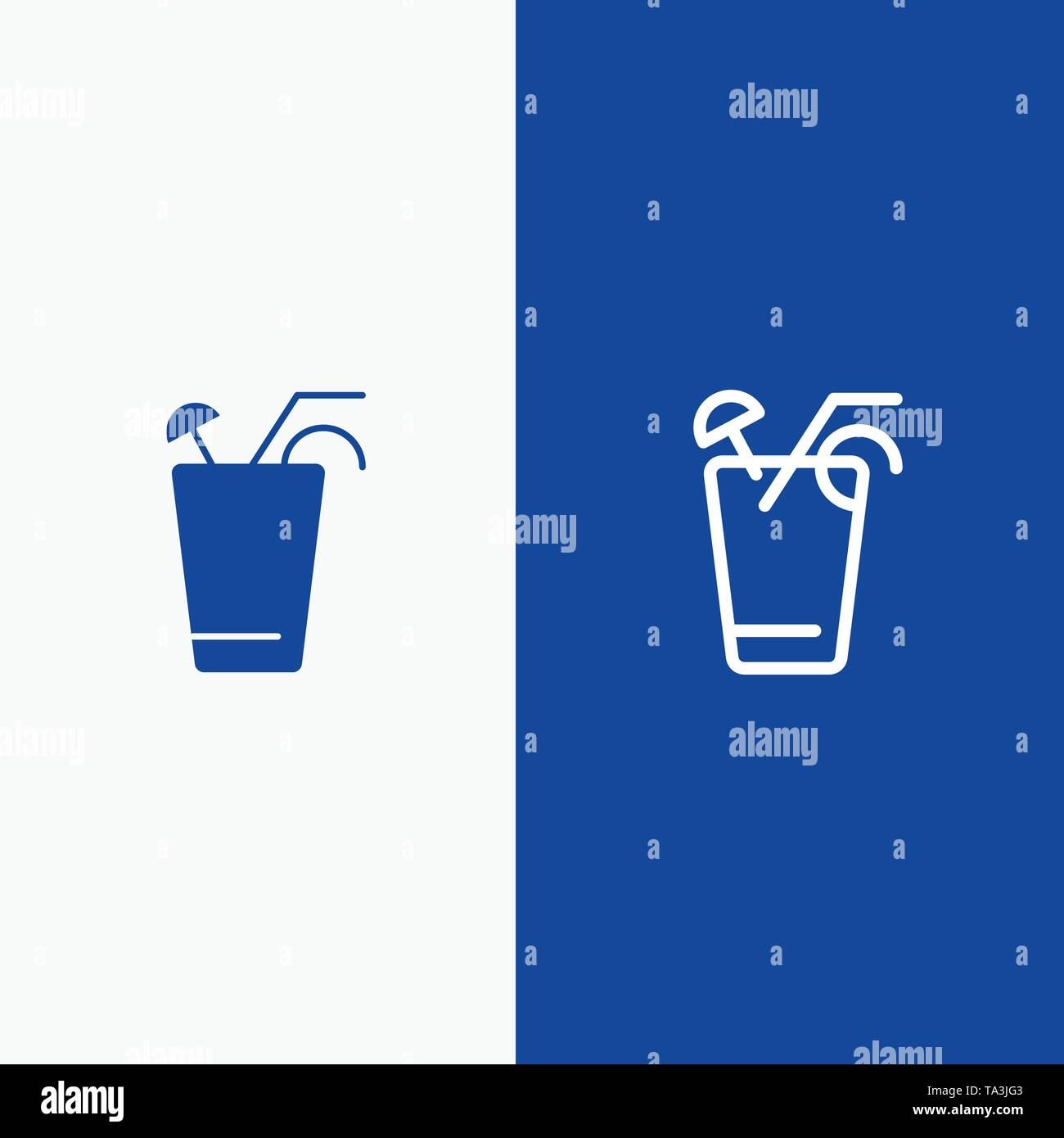 Juice, Drink, Food, Spring Line and Glyph Solid icon Blue banner Line and Glyph Solid icon Blue banner - Stock Image