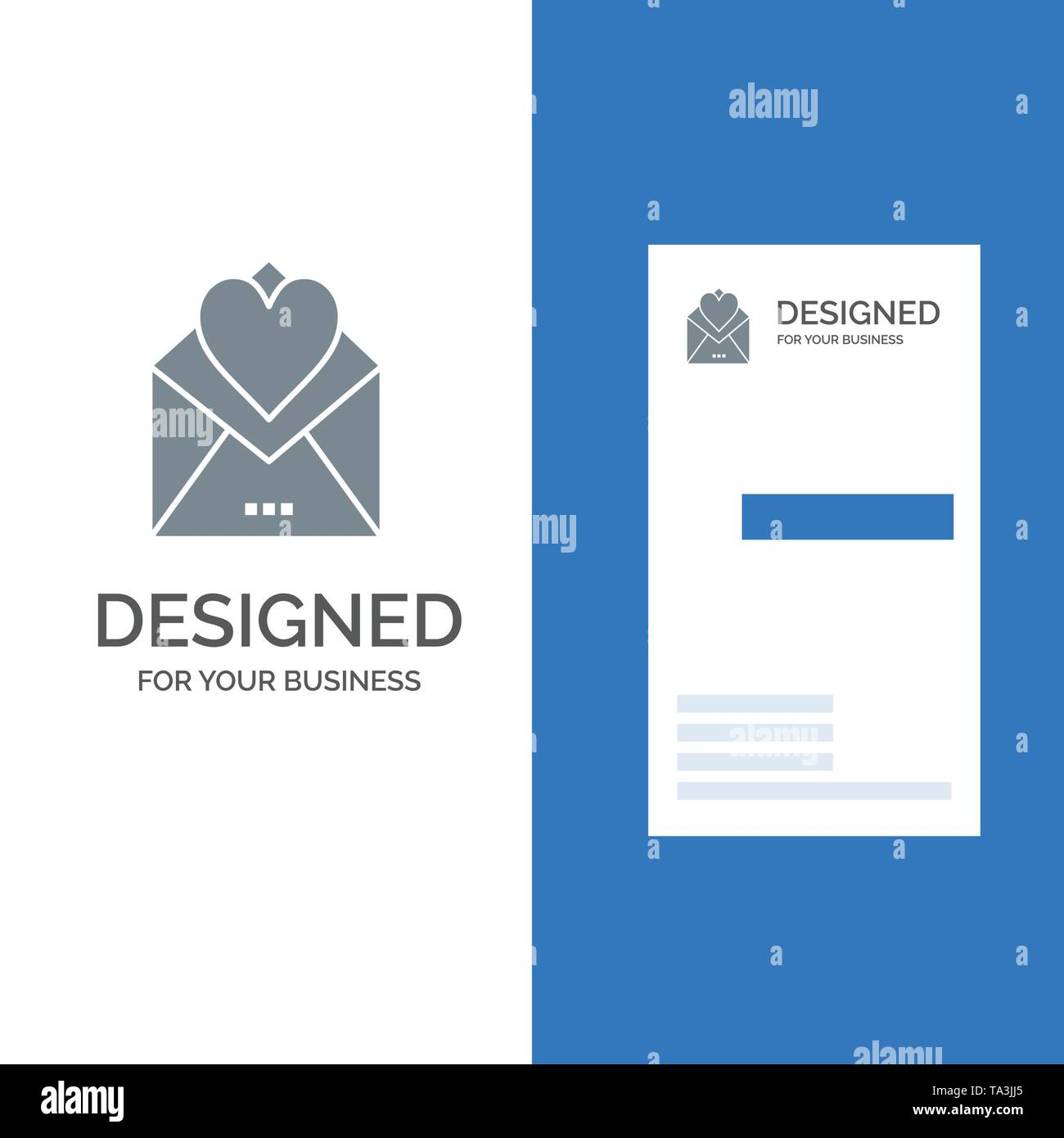 Letter, Mail, Card, Love Letter, Love Grey Logo Design and Business Card Template - Stock Image