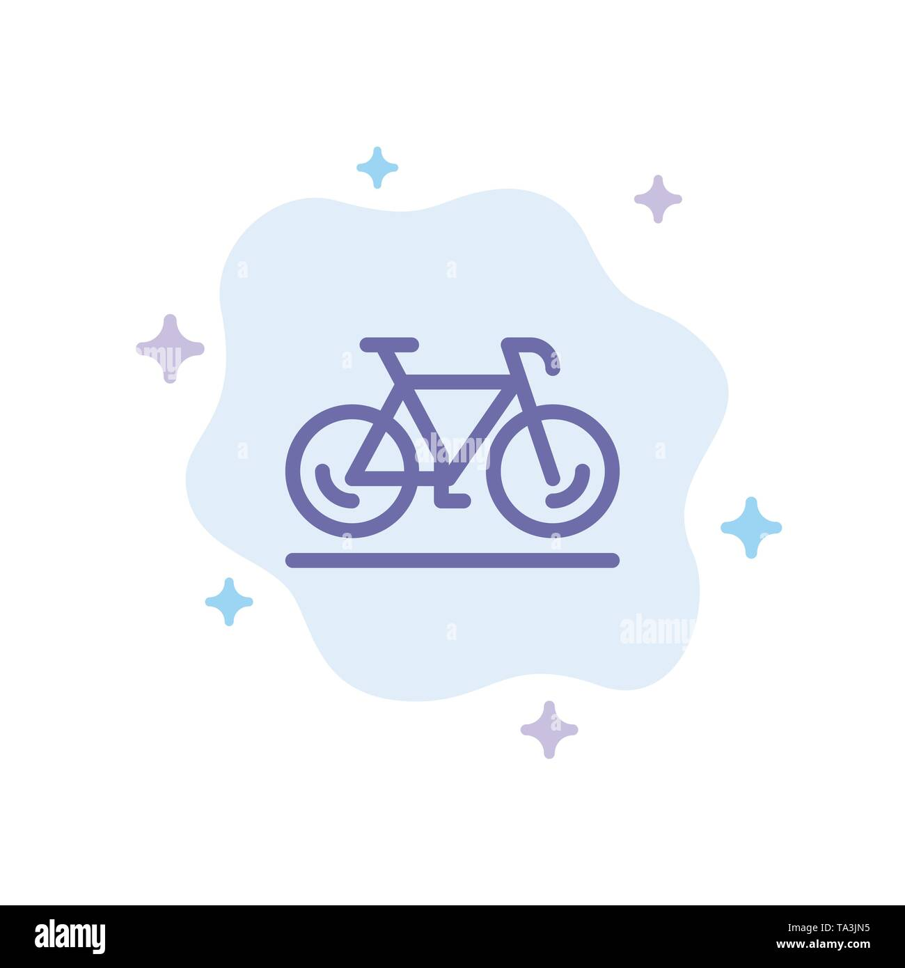 Bicycle, Movement, Walk, Sport Blue Icon on Abstract Cloud Background - Stock Image