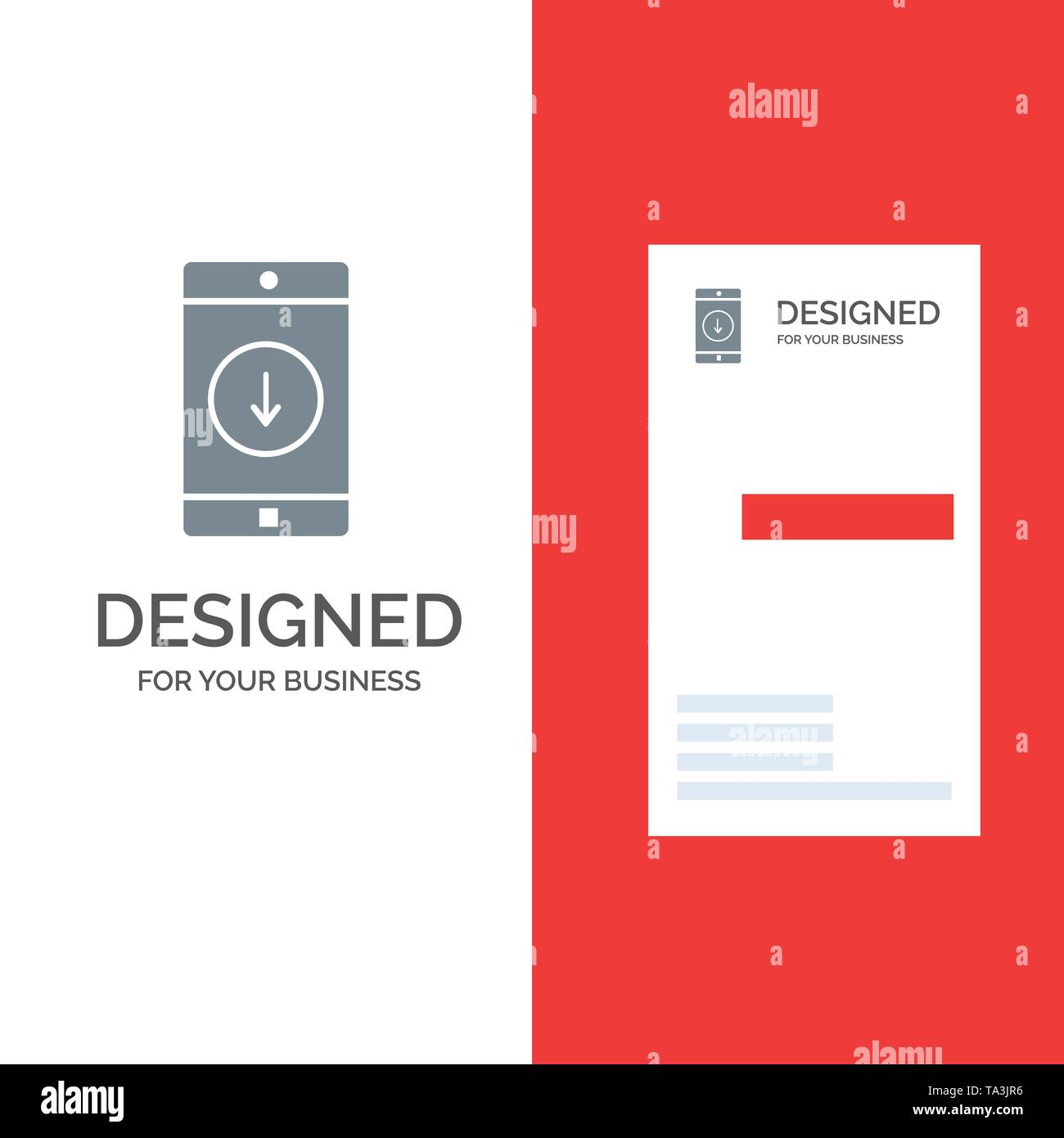 Application, Mobile, Mobile Application, Down, Arrow Grey Logo Design and Business Card Template - Stock Image