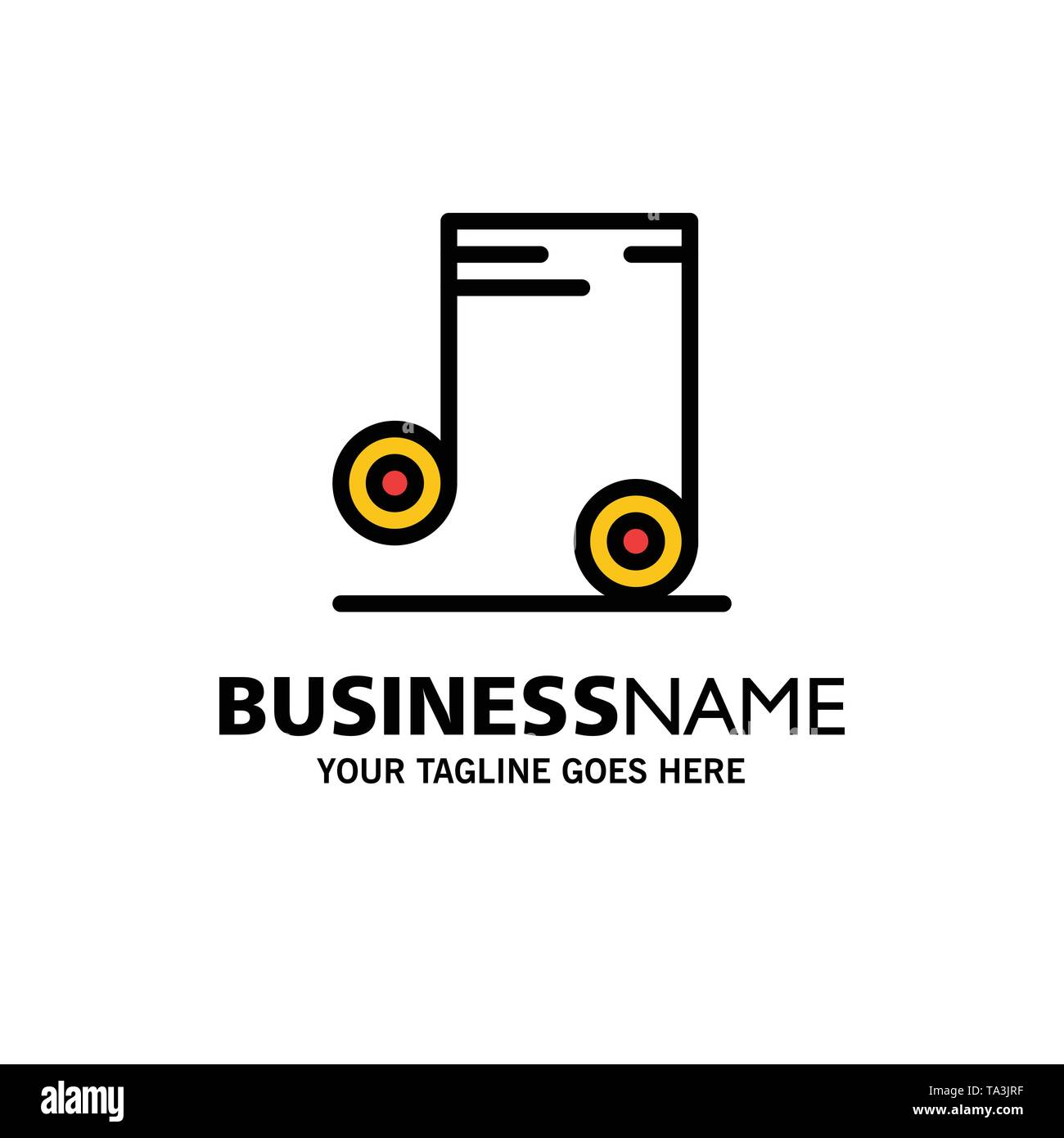 Music, Audio, School Business Logo Template. Flat Color - Stock Image