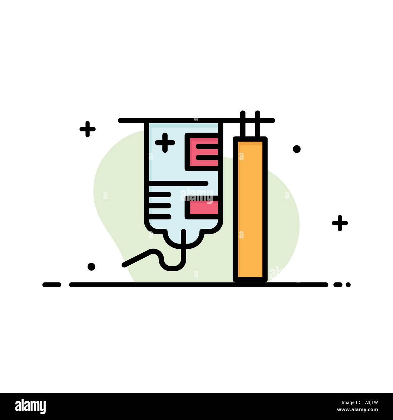 Drip, Hospital, Medical, Treatment  Business Flat Line Filled Icon Vector Banner Template - Stock Image