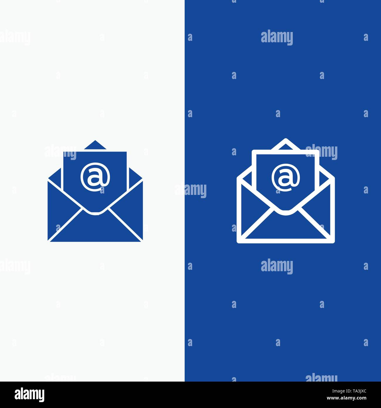 Email, Mail, Open Line and Glyph Solid icon Blue banner Line and Glyph Solid icon Blue banner - Stock Image