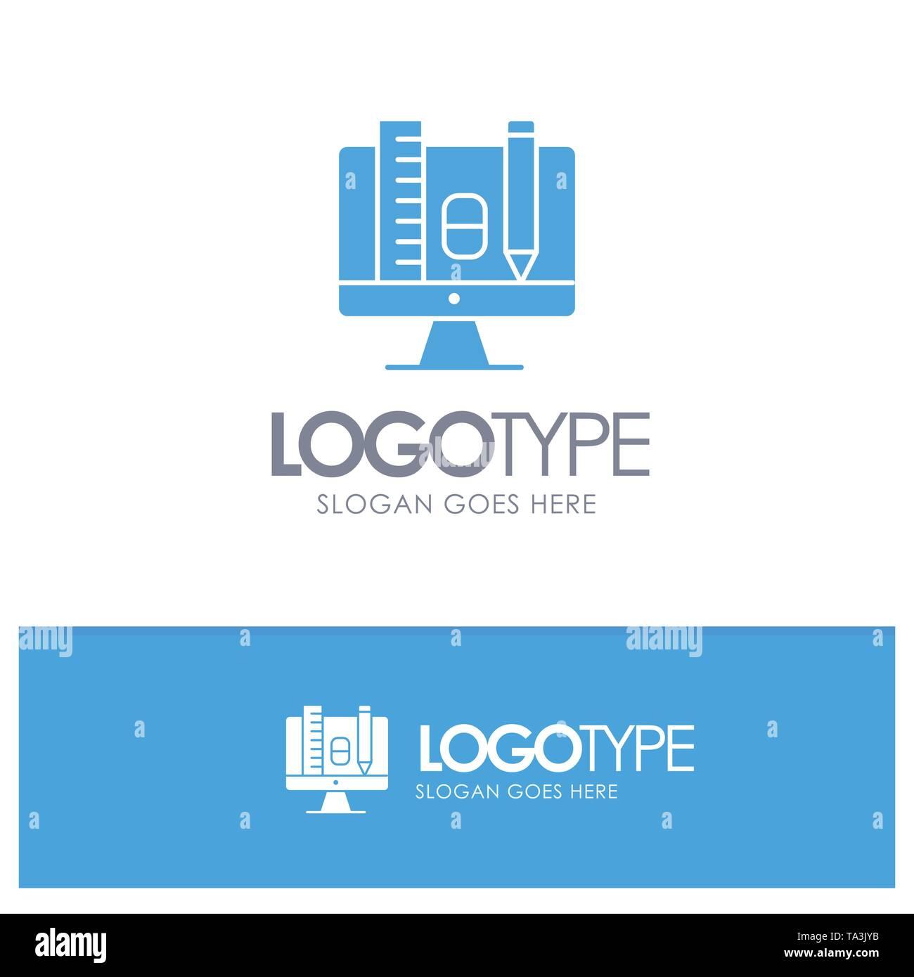 Computer, Education, Scale, Pencil Blue Logo vector - Stock Image