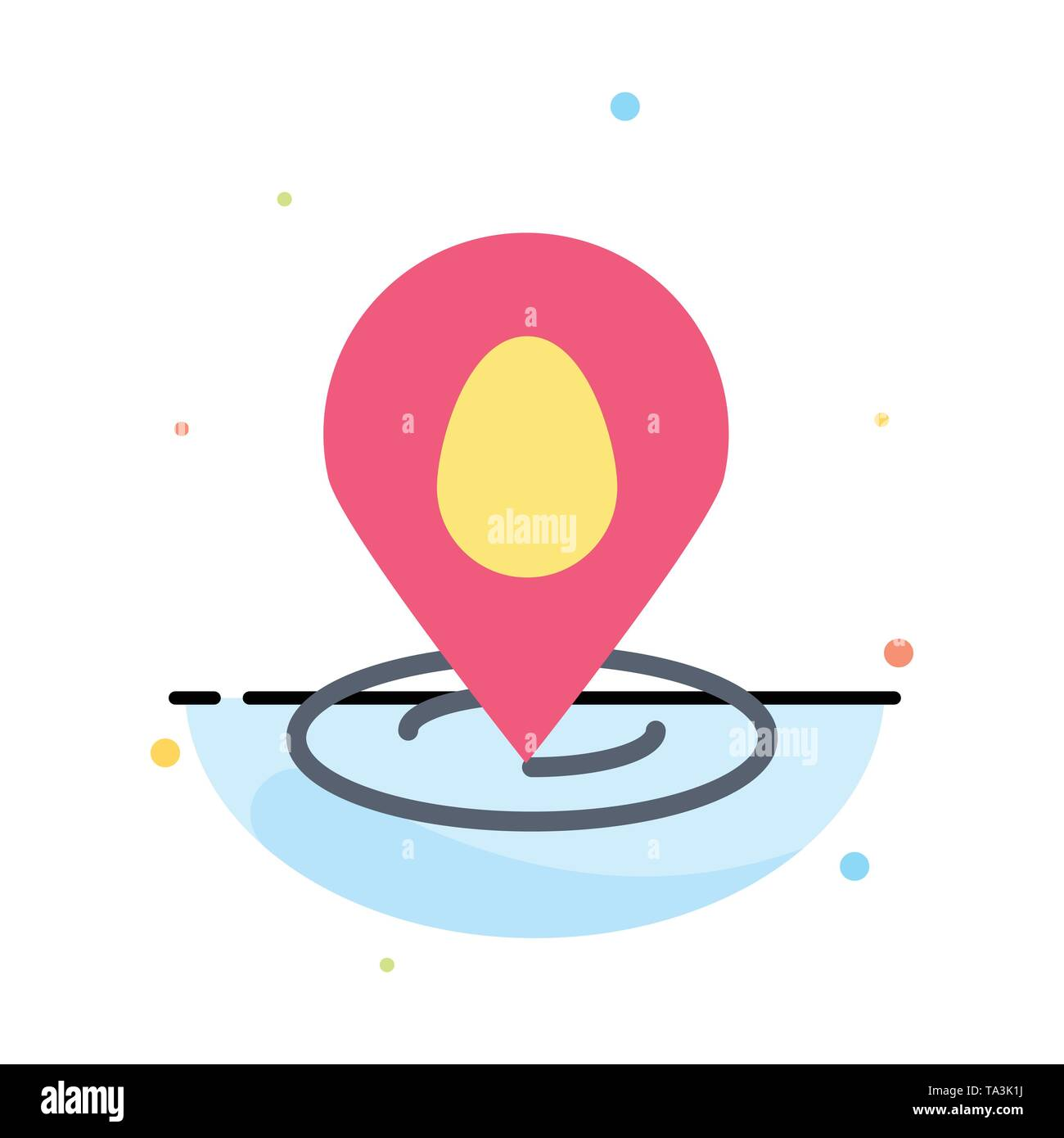 Location, Pin, Map, Easter Abstract Flat Color Icon Template - Stock Image