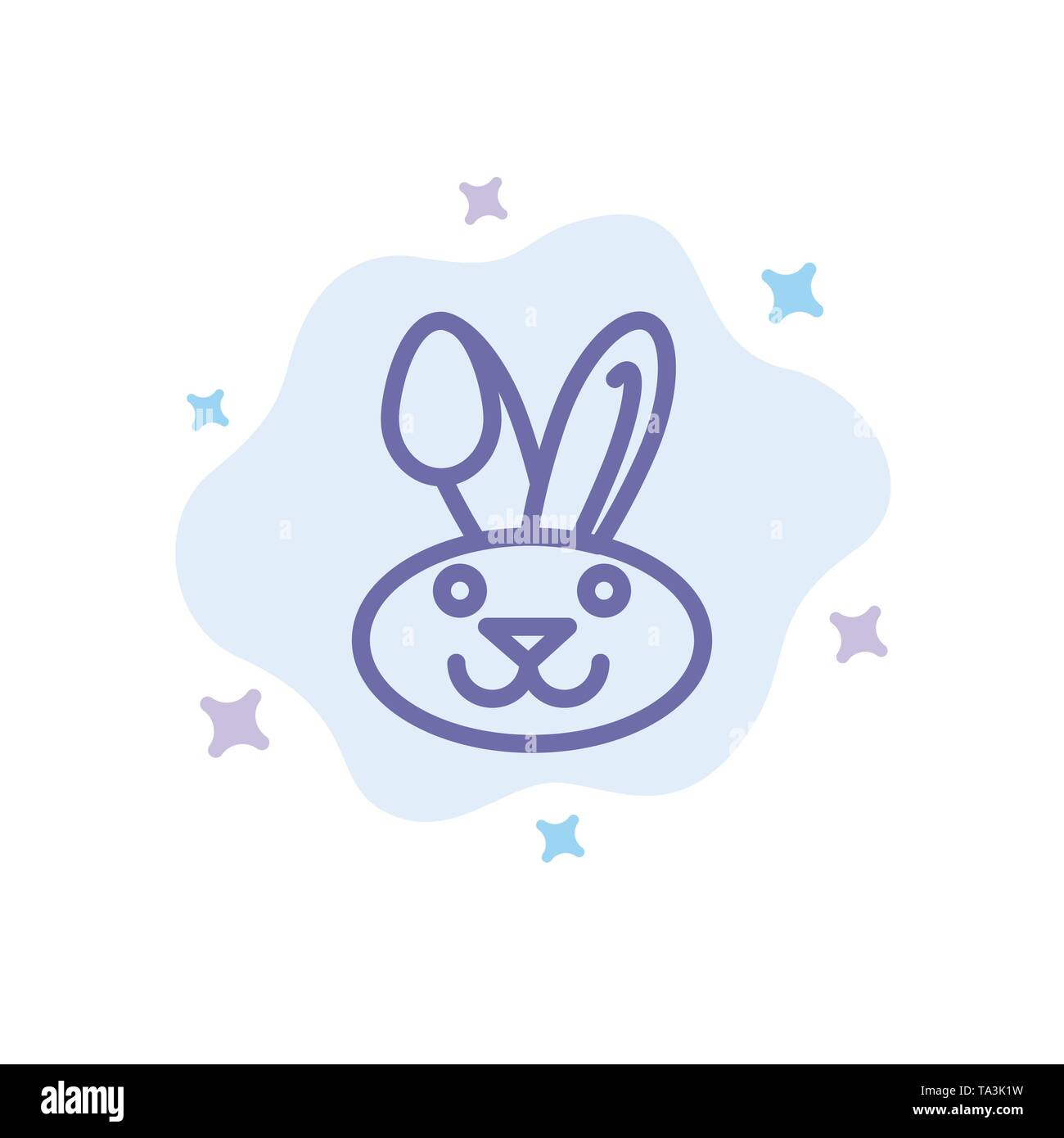 Bunny, Easter, Rabbit Blue Icon on Abstract Cloud Background - Stock Image