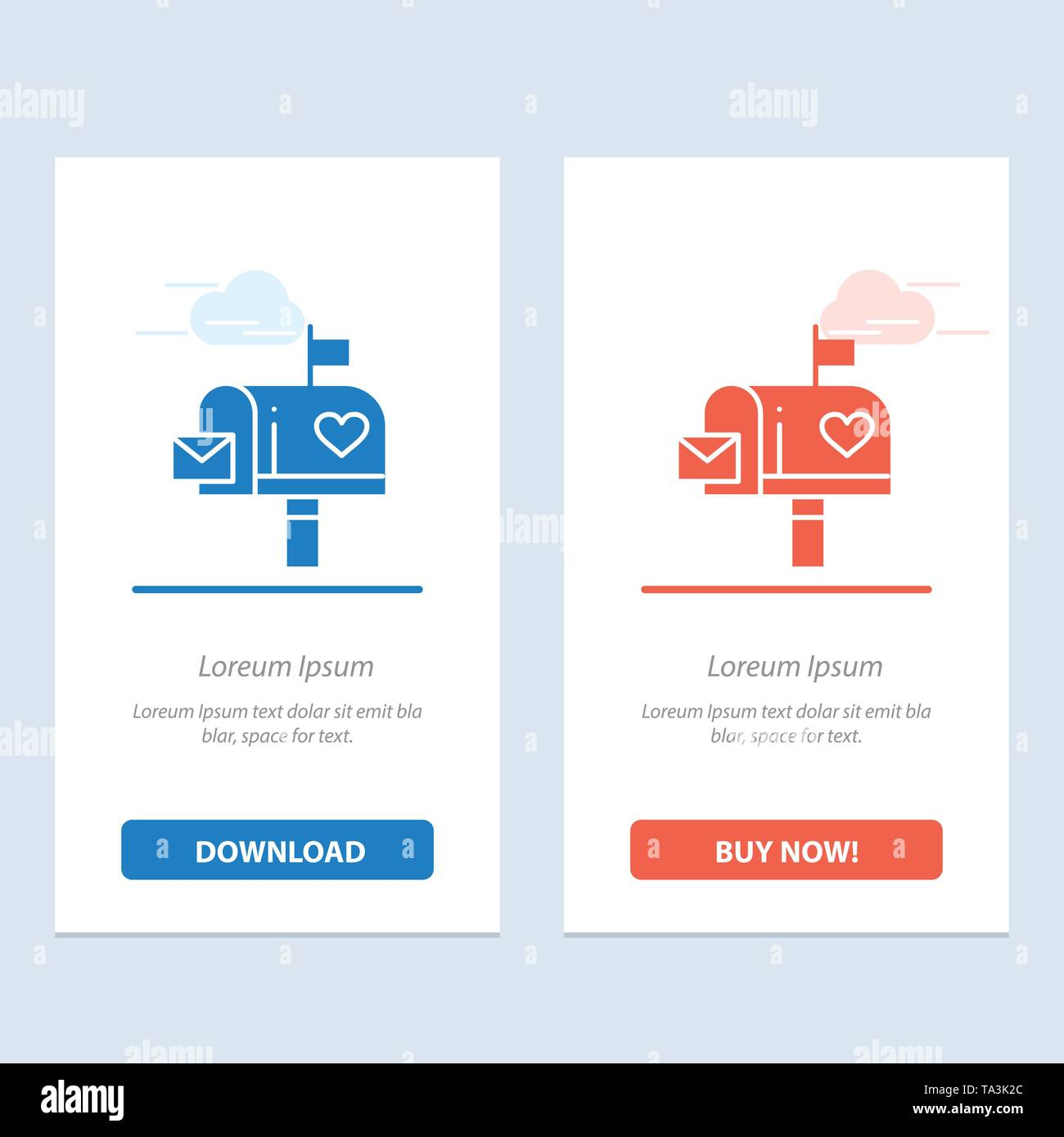 Mailbox, Mail, Love, Letter, Letterbox  Blue and Red Download and Buy Now web Widget Card Template - Stock Image