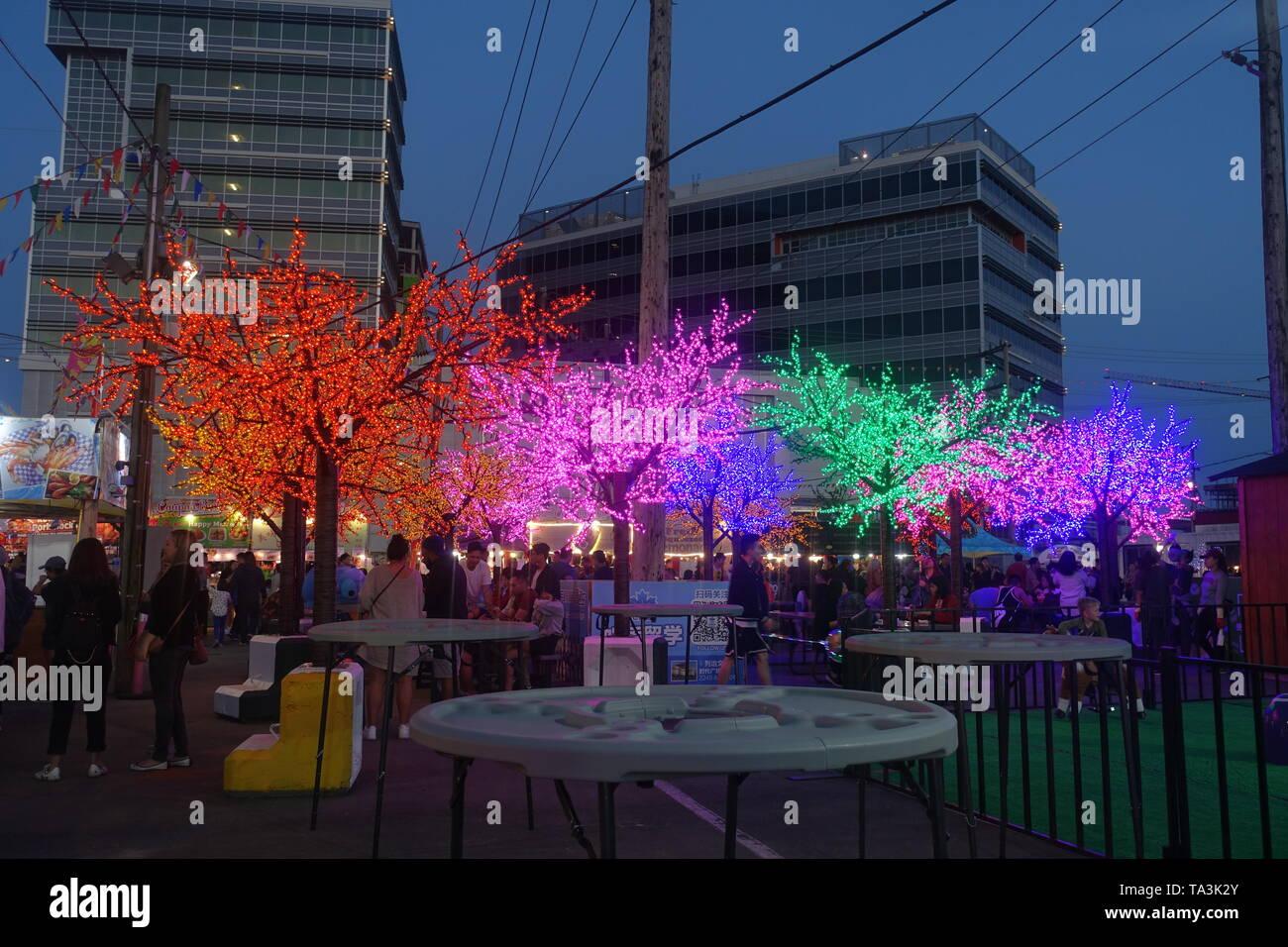 Richmond Night Market colorful Wishing trees 2019 - Stock Image