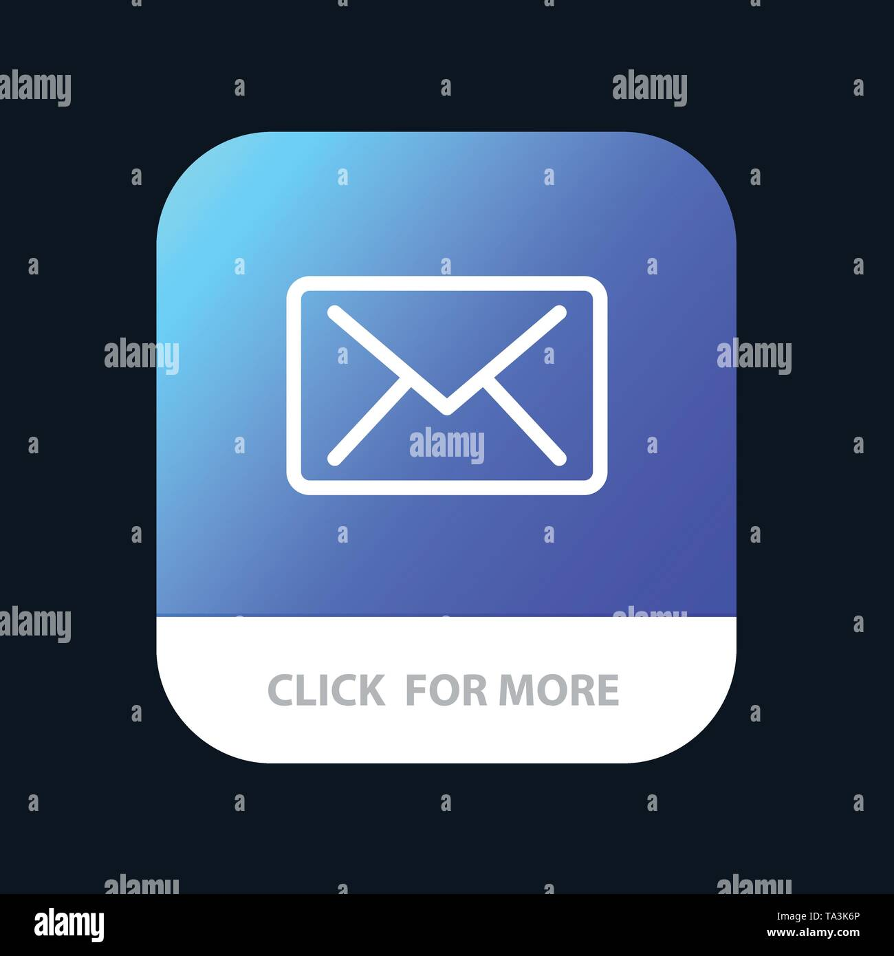 Email, Mail, Message Mobile App Button. Android and IOS Line Version - Stock Image