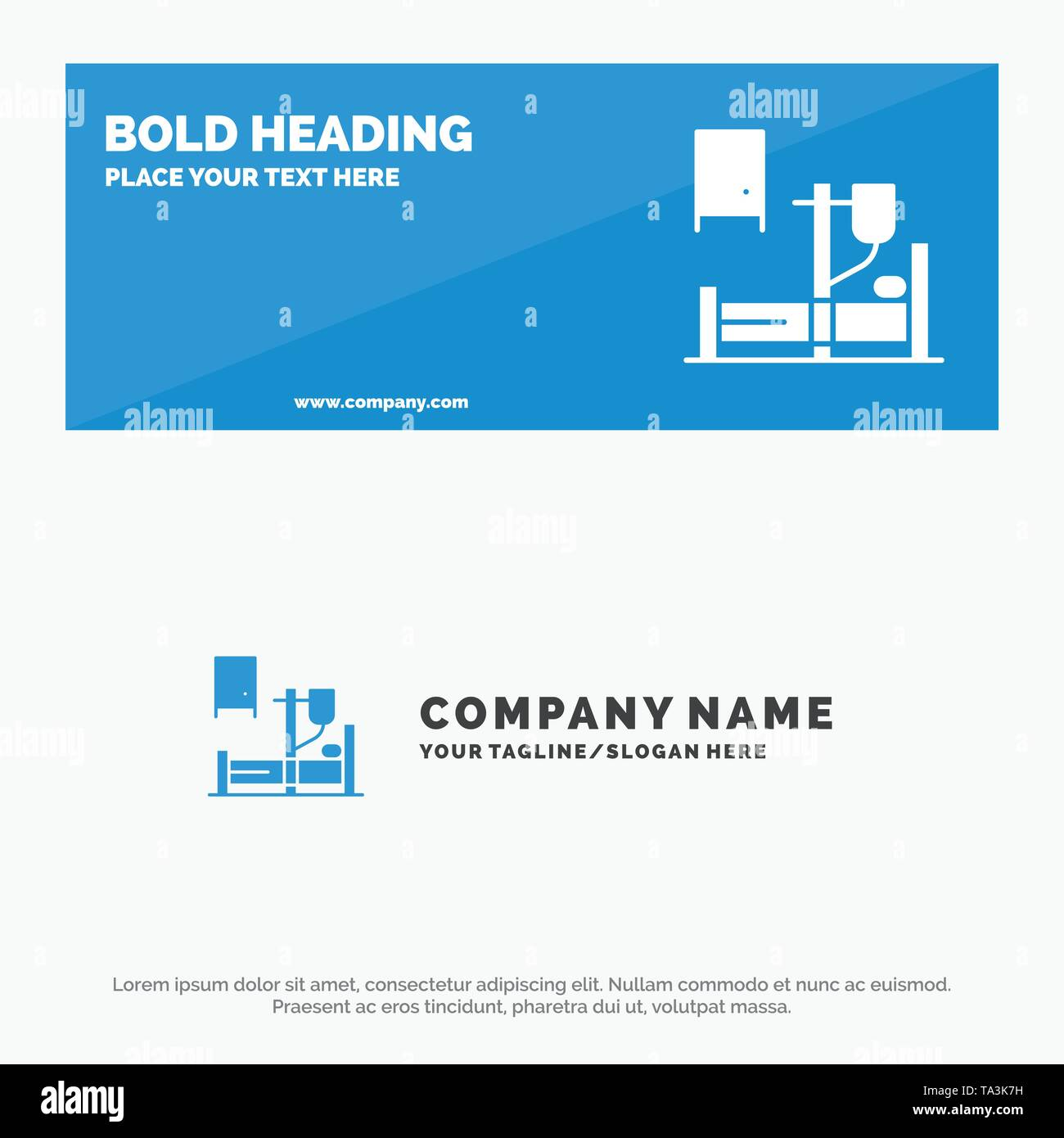 Medical, Drip, Medicine, Hospital SOlid Icon Website Banner and Business Logo Template - Stock Image