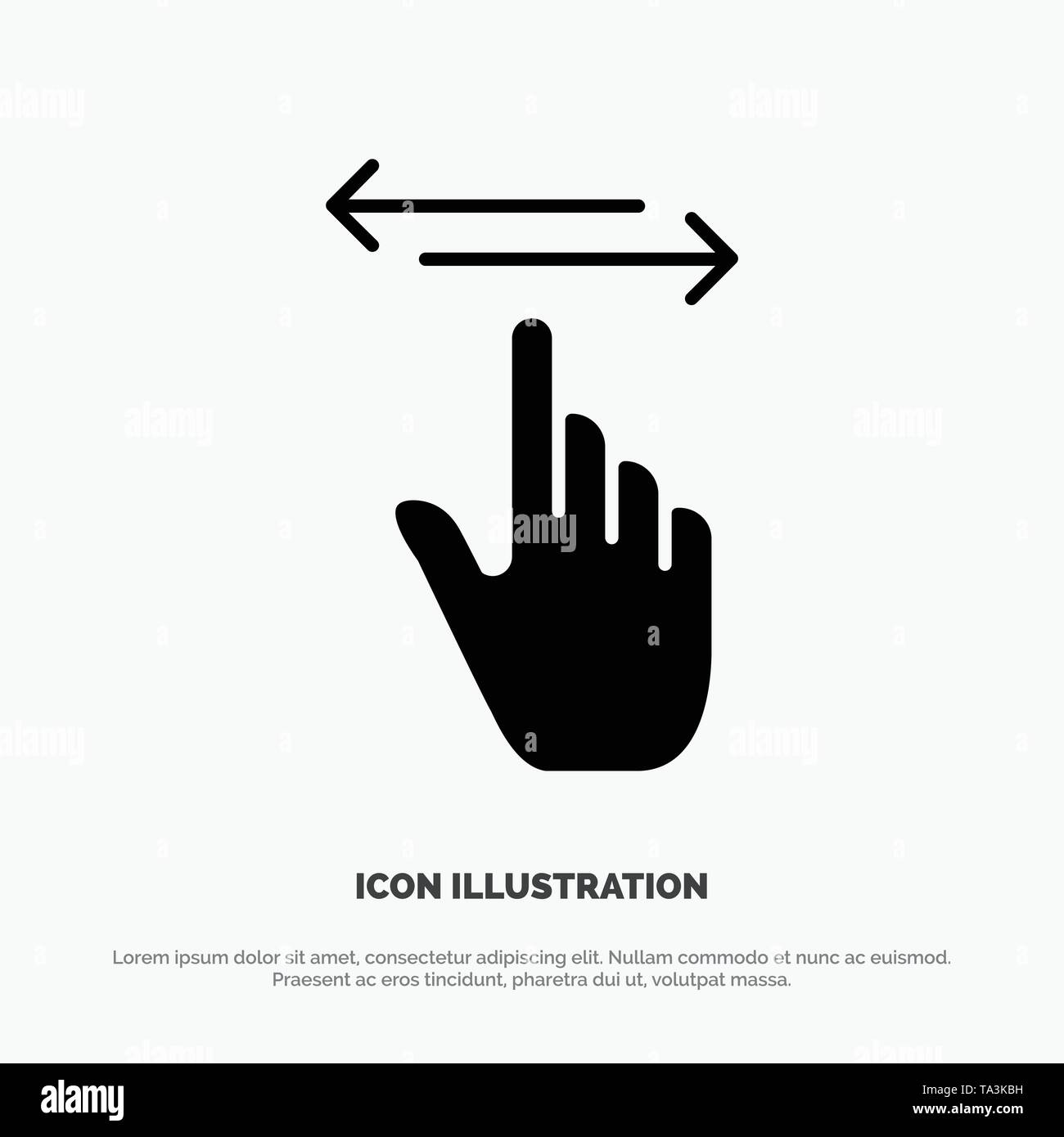 Finger, Gestures, Hand, Left, Right solid Glyph Icon vector - Stock Image