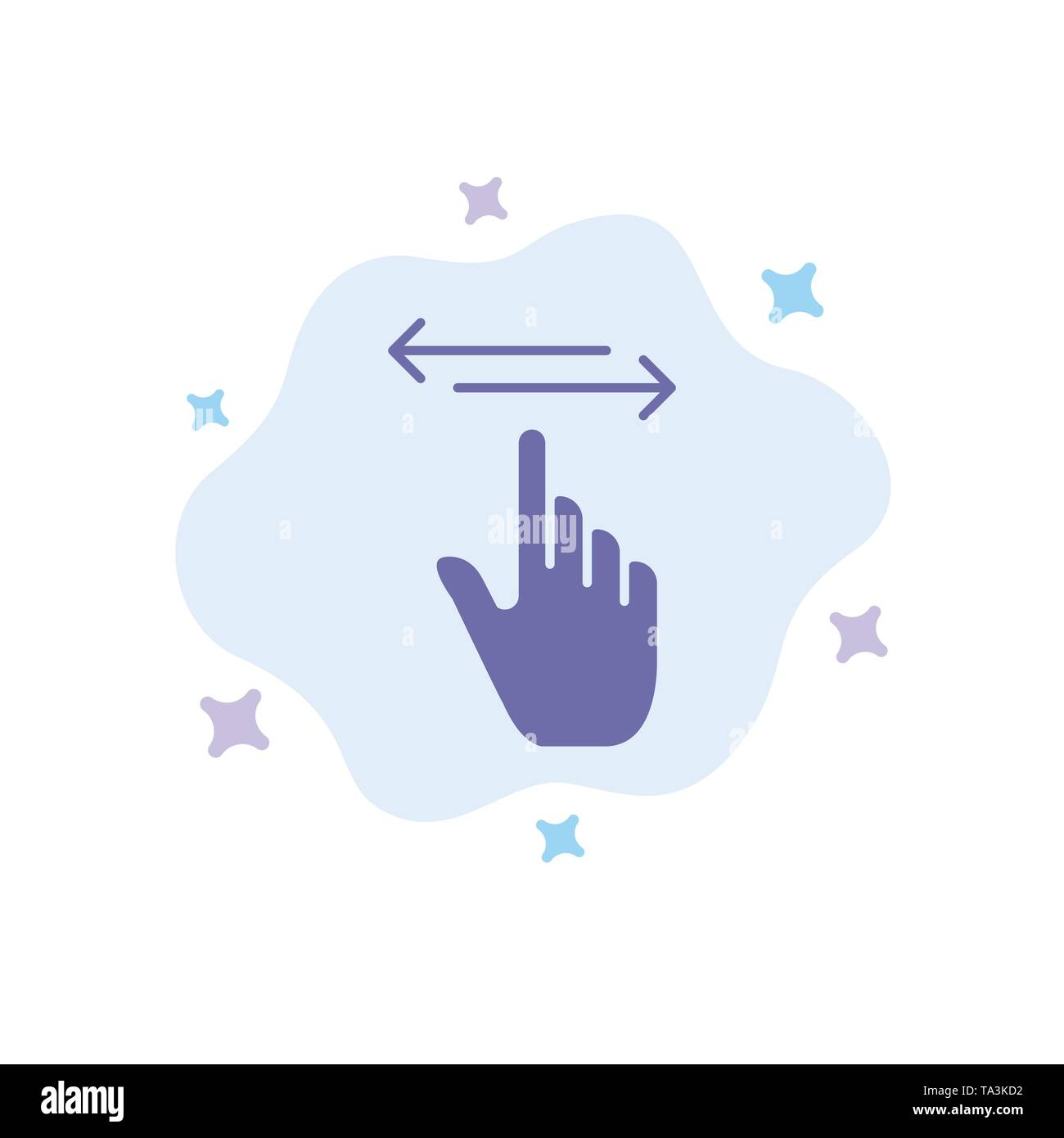 Finger, Gestures, Hand, Left, Right Blue Icon on Abstract Cloud Background - Stock Image