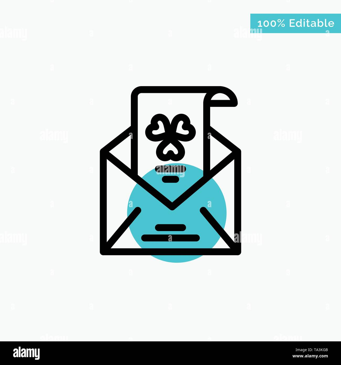 Emails, Envelope, Greeting, Invitation turquoise highlight circle point Vector icon - Stock Image