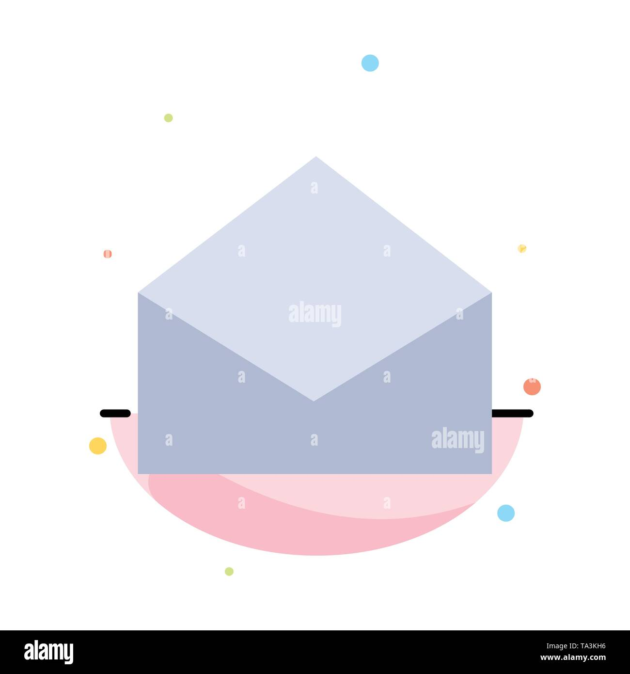 Email, Mail, Message, Open Abstract Flat Color Icon Template - Stock Image
