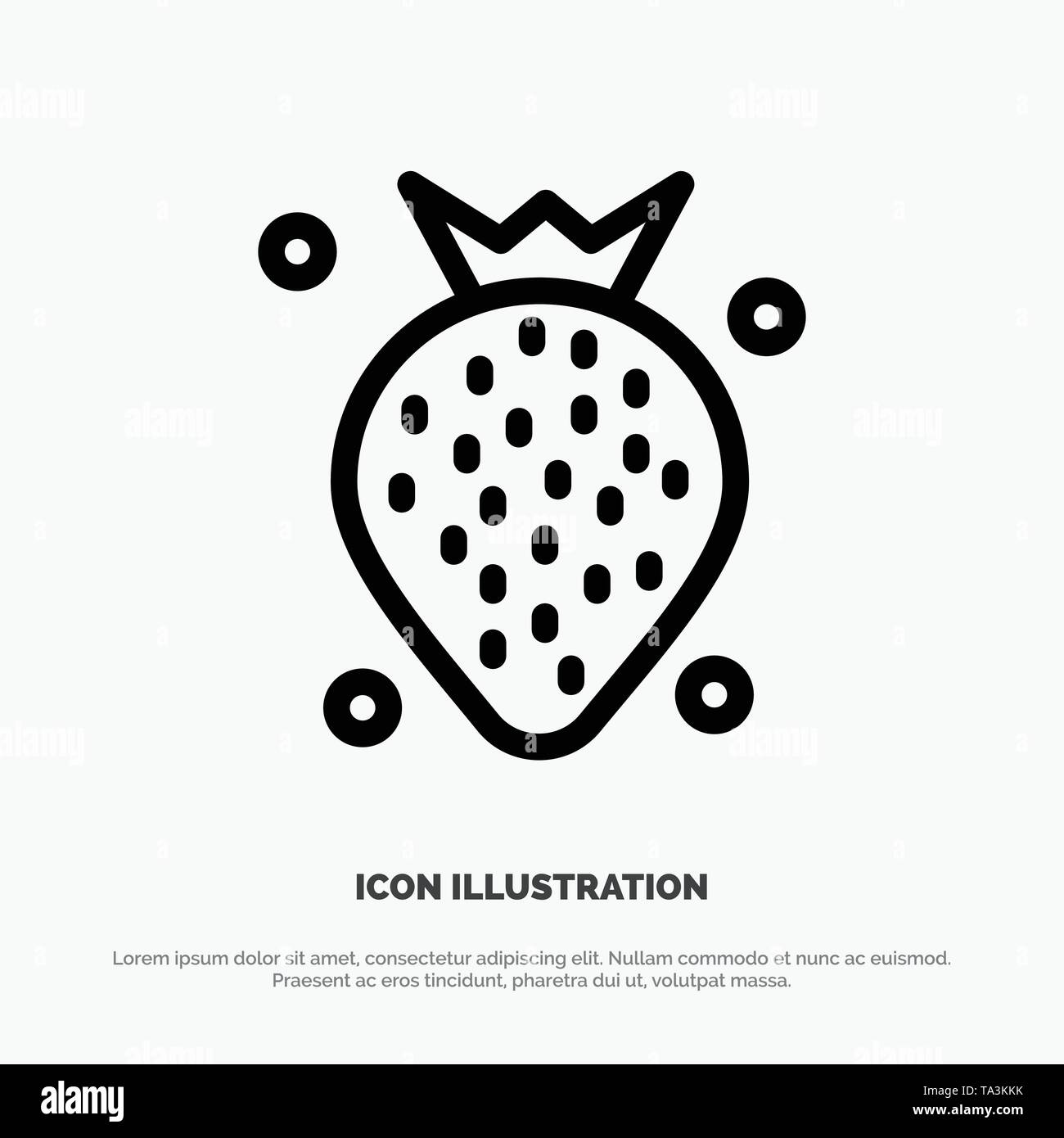 Strawberry, Food, Fruit, Berry Line Icon Vector - Stock Image