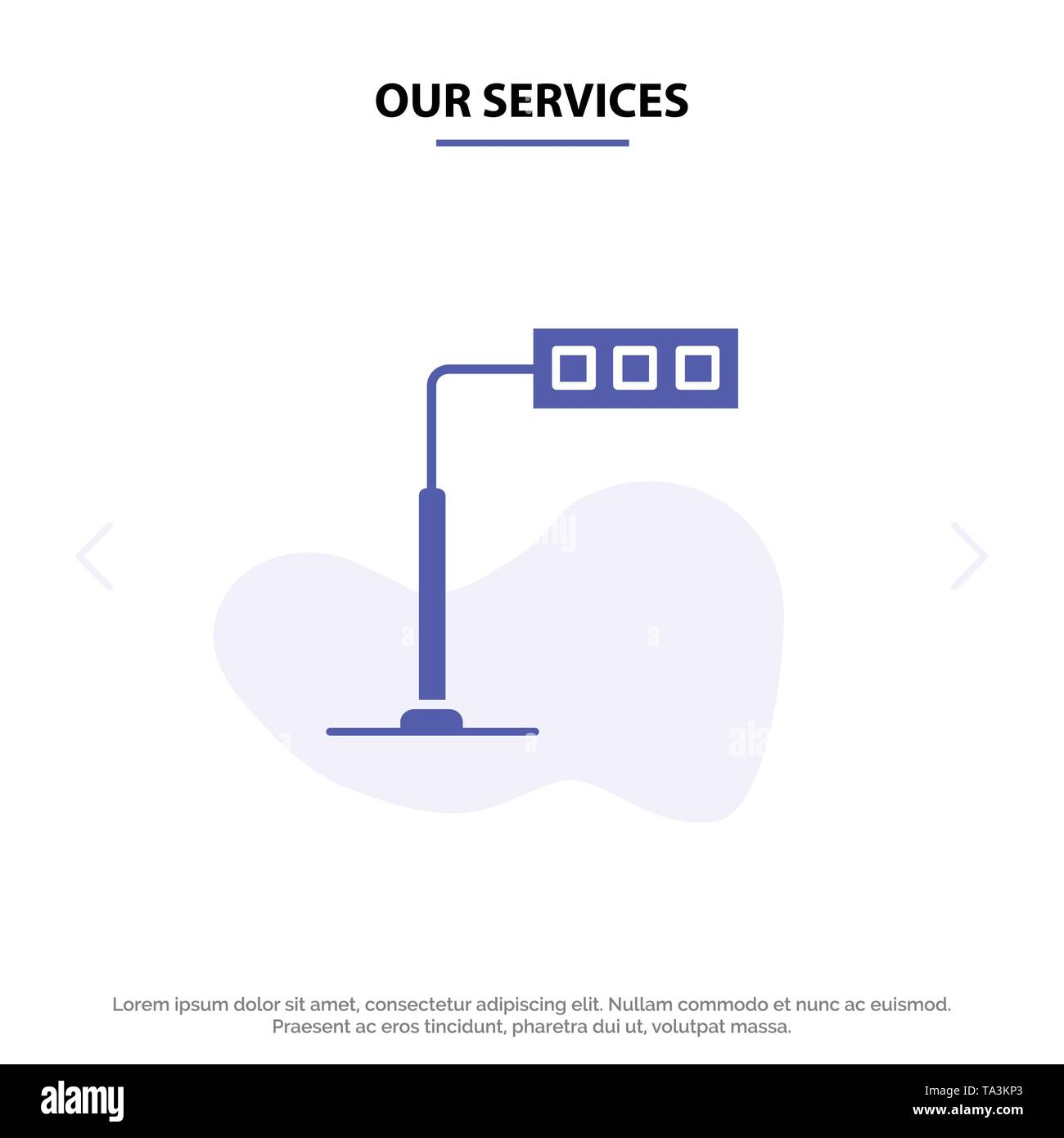 Our Services Construction, Light, Tower, Road Solid Glyph Icon Web card Template - Stock Image