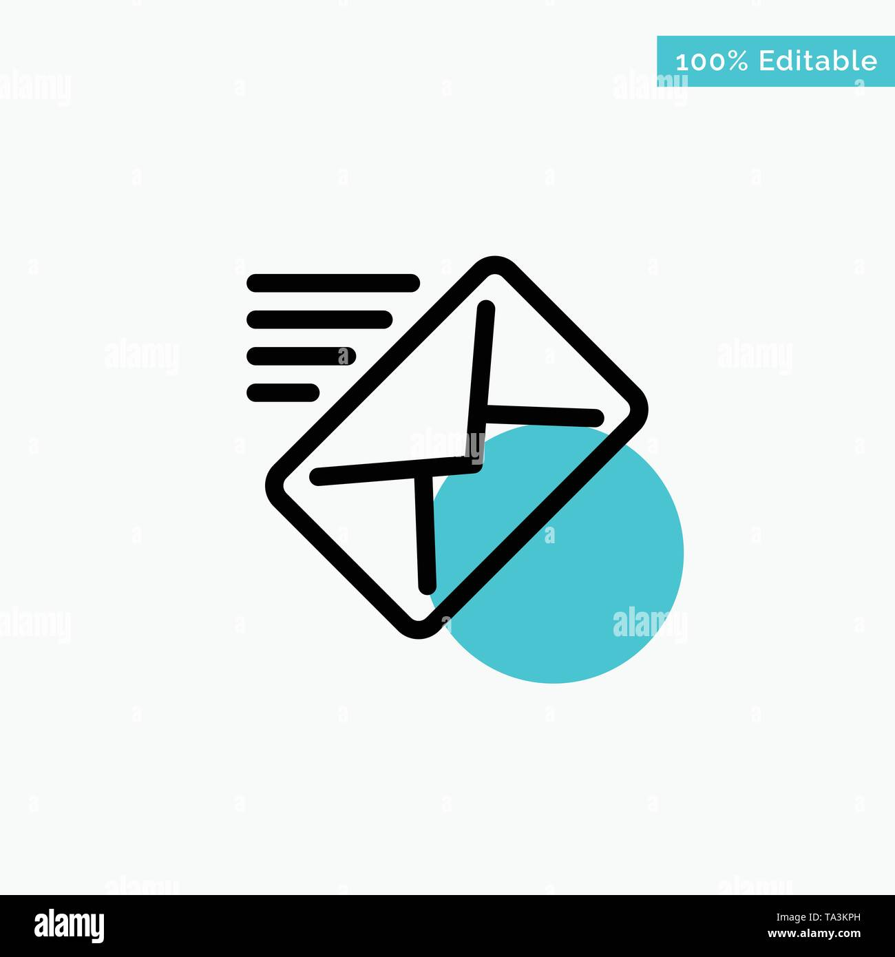 Email, Mail, Message, Sent turquoise highlight circle point Vector icon - Stock Image