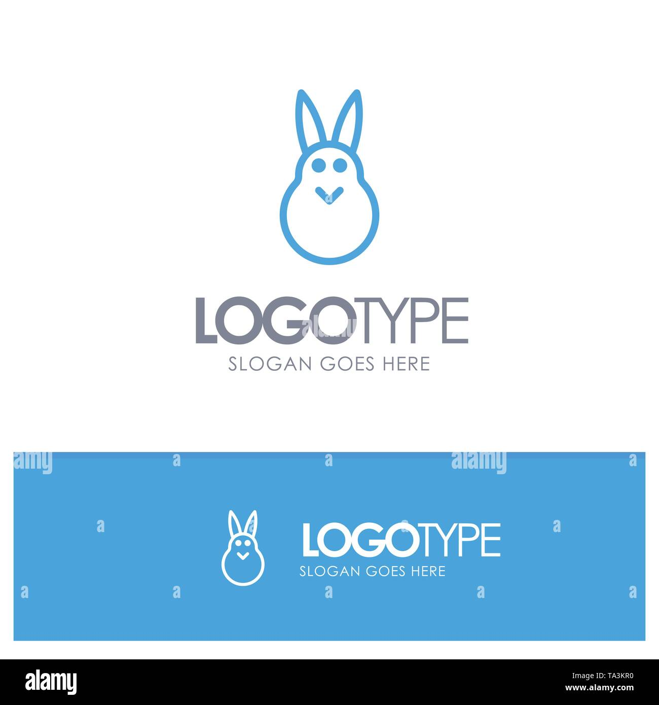 Bunny, Easter, Easter Bunny, Rabbit Blue outLine Logo with place for tagline - Stock Image
