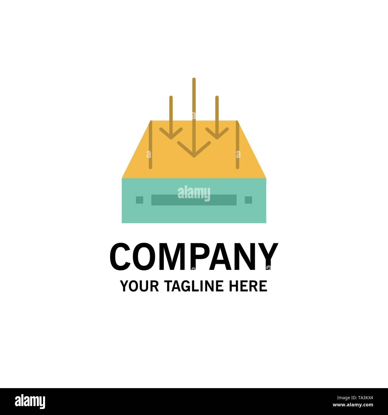 Inbox, Mail, Box, Container, Delivery, Parcel Business Logo Template. Flat Color - Stock Image