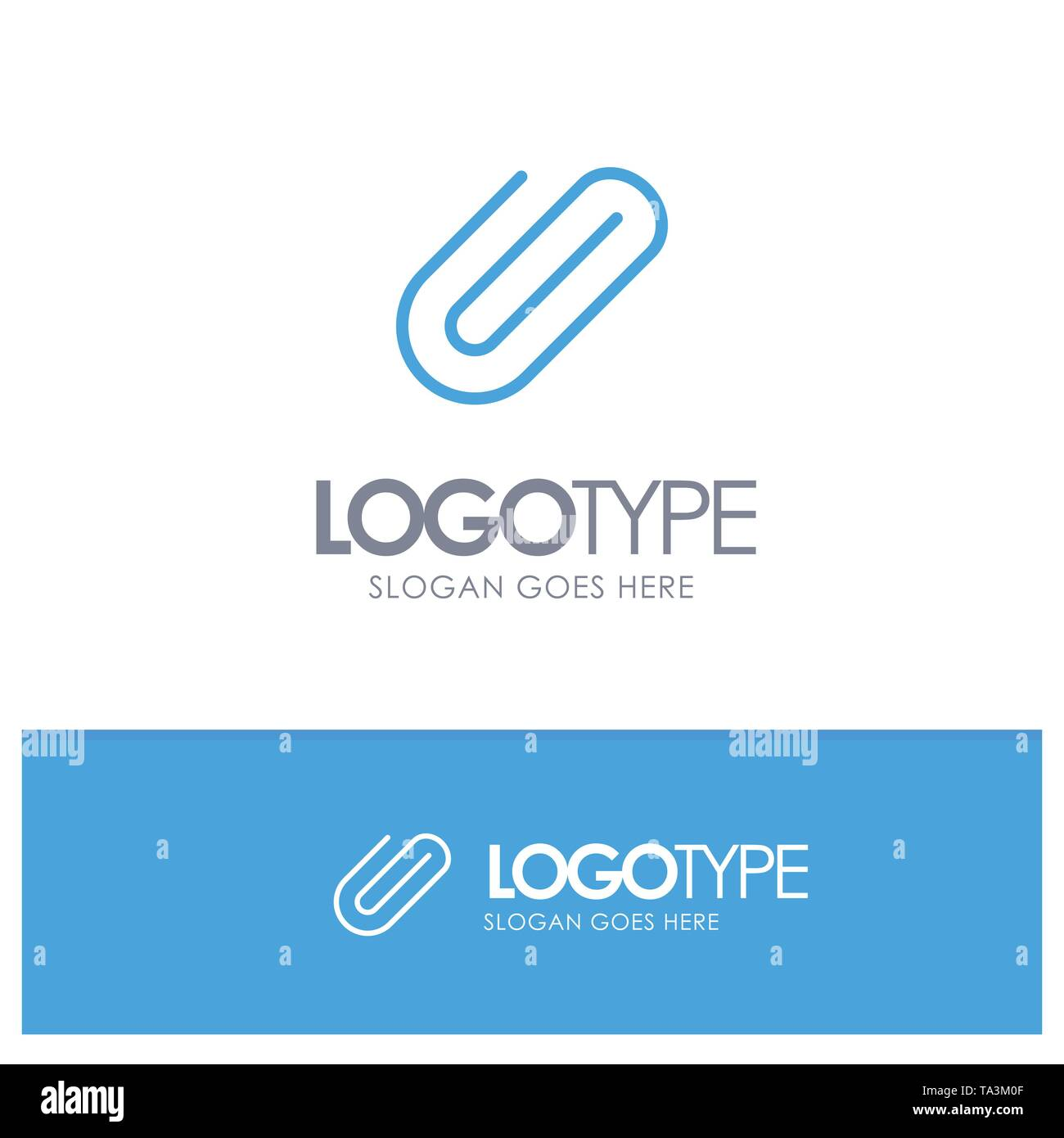 Attachment, Binder, Clip, Paper Blue Solid Logo with place for tagline - Stock Vector