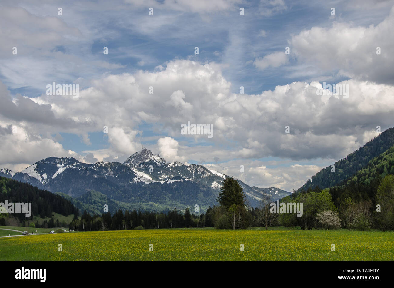 The imposing silhouette of 'Wendelstein' can  be discerned from a long way off. The  mountain is 1838 m high and has become a popular destination. - Stock Image