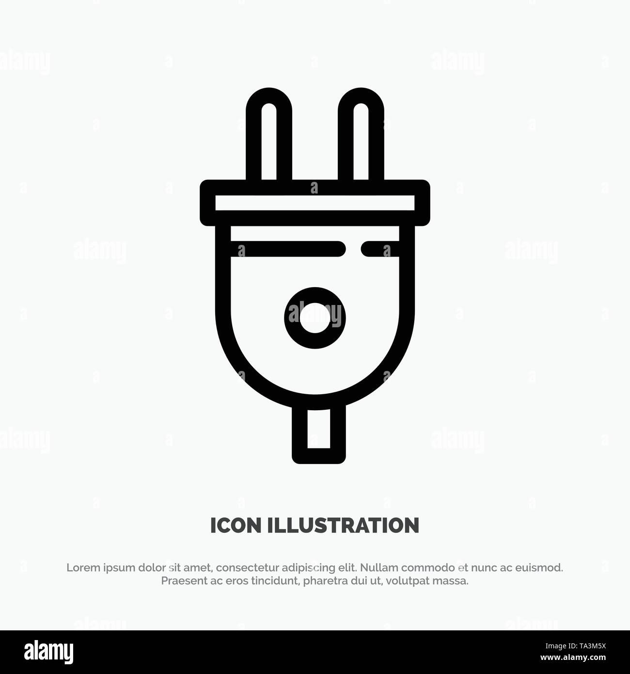 Electric, Plug, Power, Power Plug Vector Line Icon - Stock Image