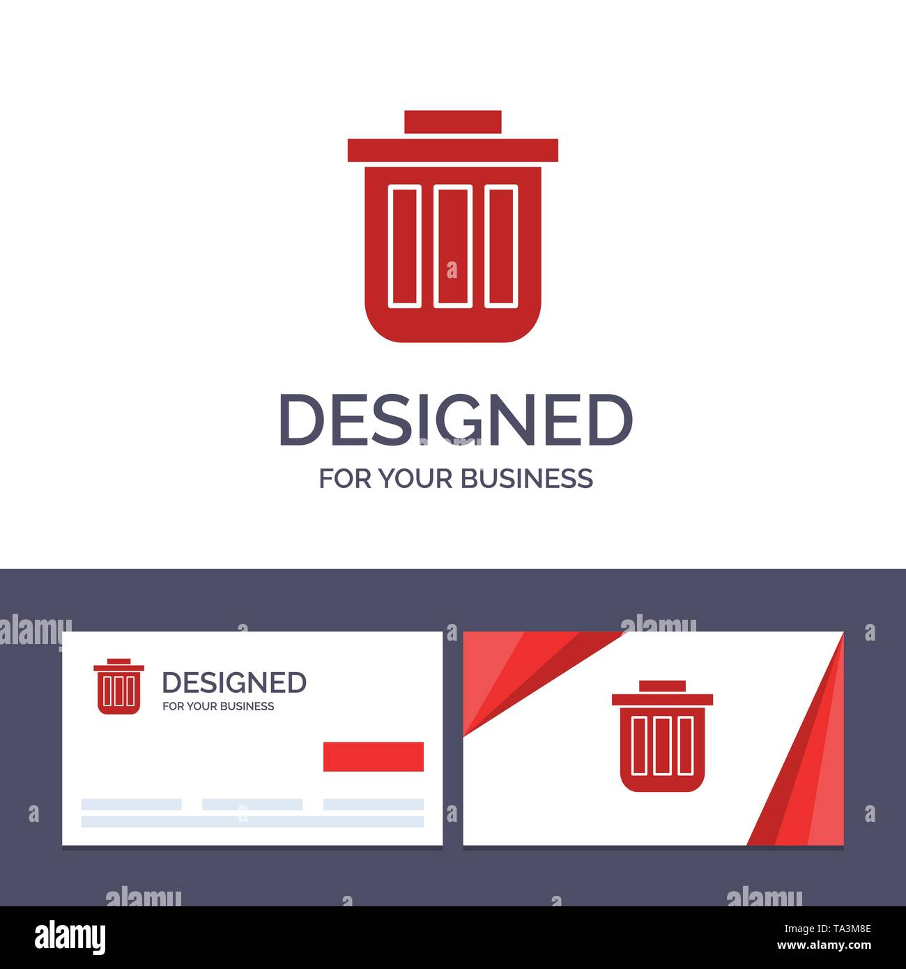 Creative Business Card and Logo template Trash, Basket, Bin, Can, Container, Dustbin, Office Vector Illustration - Stock Image