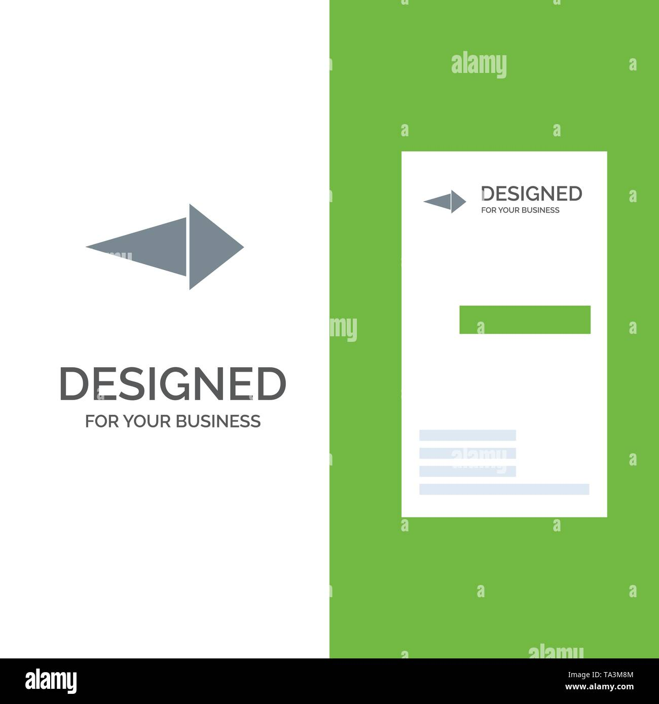 Arrow, Right, Next Grey Logo Design and Business Card Template - Stock Image