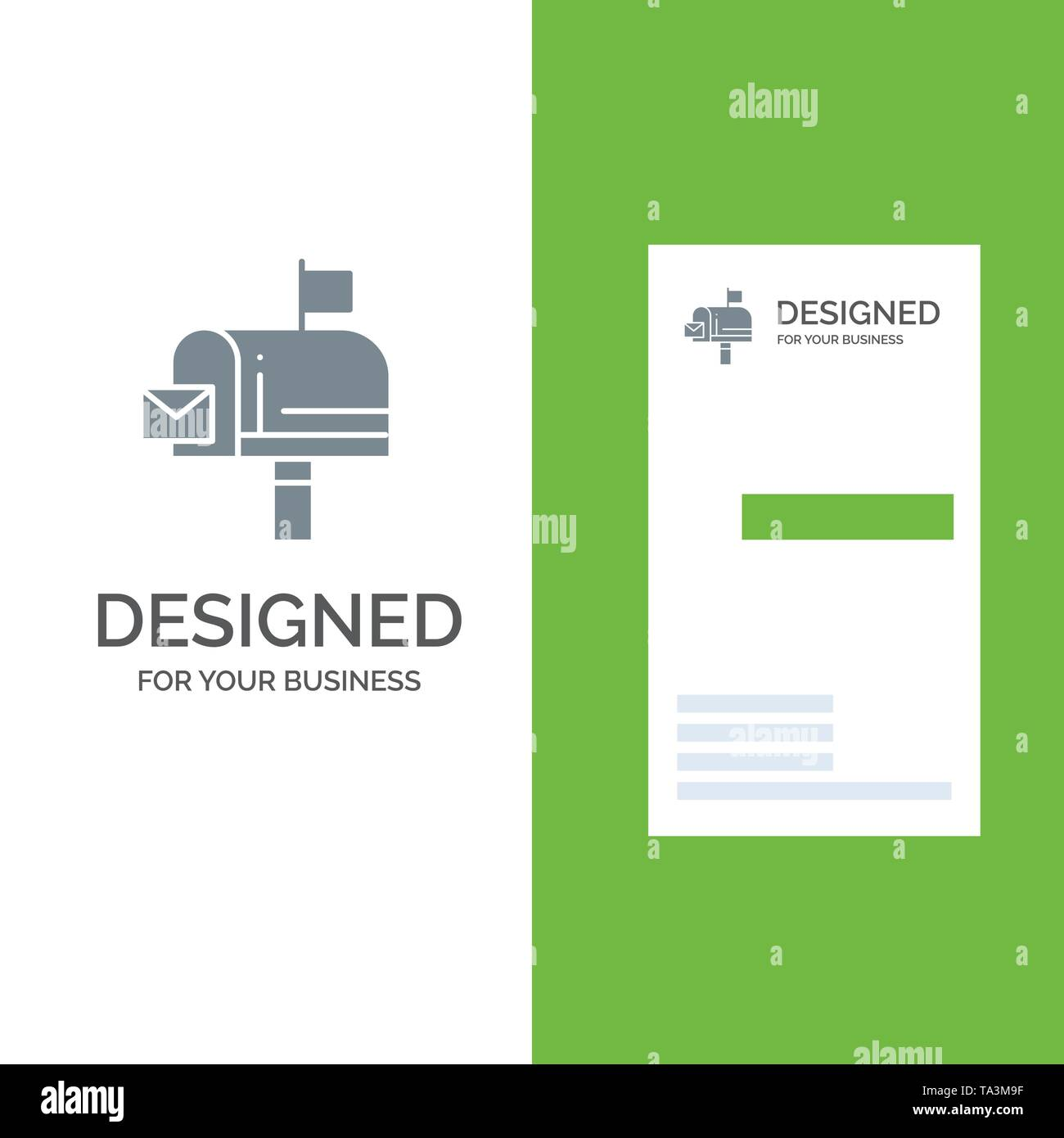 Mail, Box, Message, Email Grey Logo Design and Business Card Template - Stock Image
